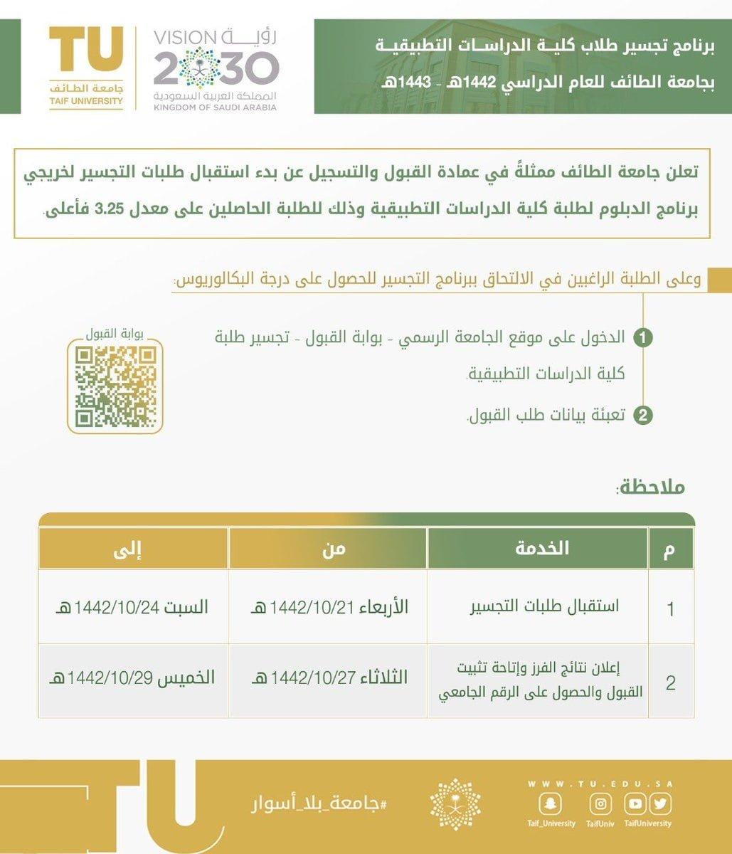 برنامج التجسير لخريجي برنامج الدبلوم كلية الدراسات التطبيقية لدى جامعة الطائف 3