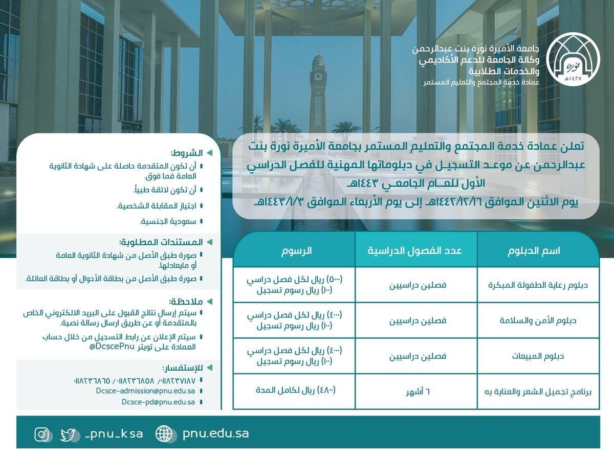 4 برامج دبلوم مهني لحملة الثانوية فأعلى لعام 1443هـ لدى جامعة الأميرة نورة 3