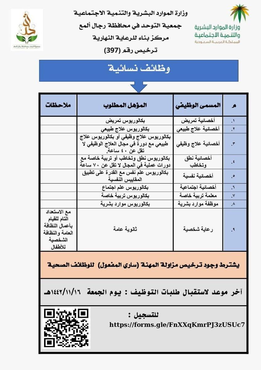 9 وظائف شاغرة لحملة الثانوية فأعلى لدى جمعية التوحد بمحافظة رجال ألمع 3