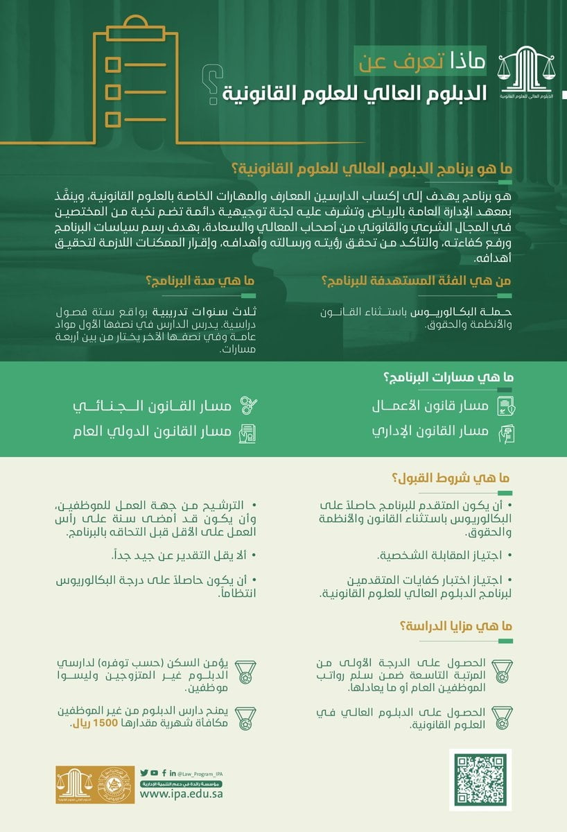 تفاصيل برنامج الدبلوم العالي للعلوم القانونية لدى معهد الإدارة العامة 3