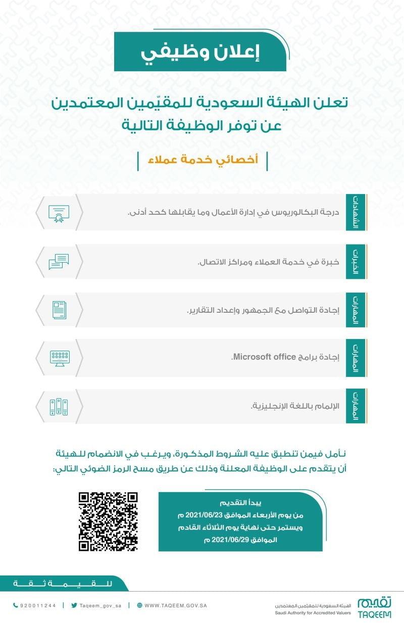 وظائف شاغرة بمجال خدمة العملاء لدى الهيئة السعودية للمقيمين المعتمدين بالرياض 3