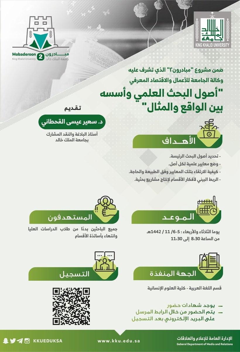 إقامة عدة دورات وبرامج تدريبية مجانية عن بُعد لدى جامعة الملك خالد 7