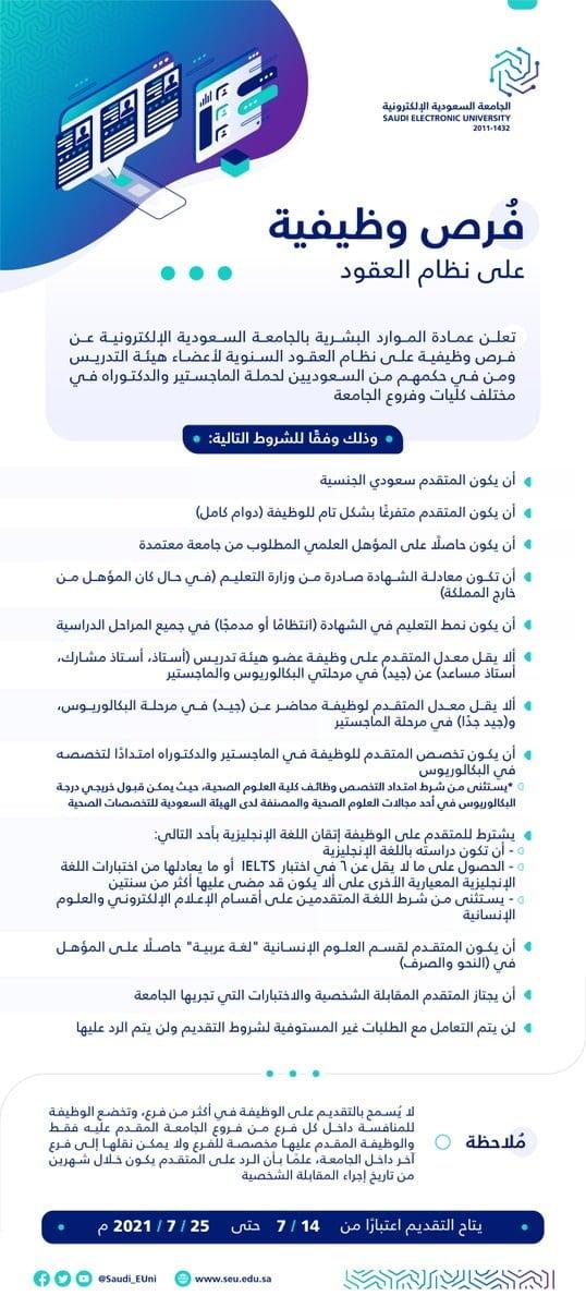 وظائف أكاديمية بمختلف كليات وفروع الجامعة بالمملكة لدى الجامعة الإلكترونية 3