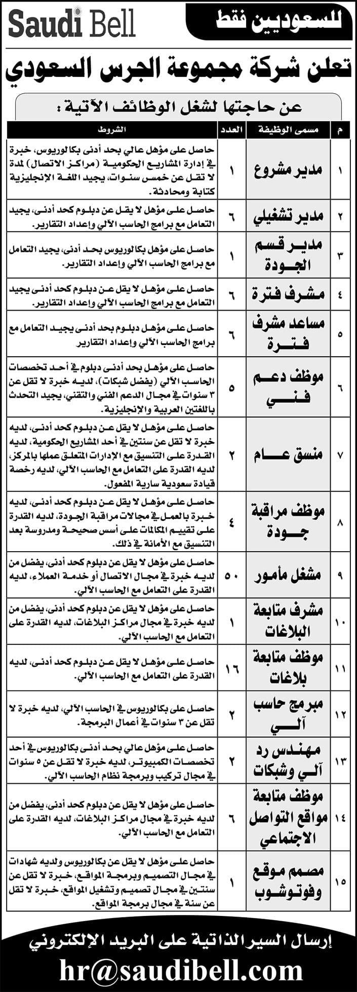 أكثر من 100 وظيفة لحملة الدبلوم فأعلى لدى مجموعة الجرس السعودي 3