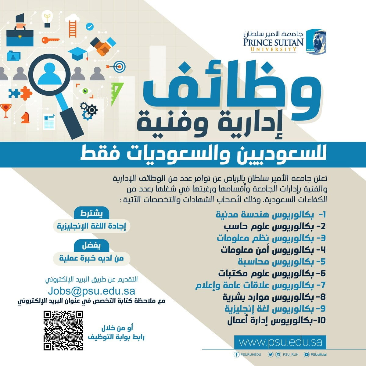 وظائف إدارية وفنية بإدارات الجامعة وأقسامها لدى جامعة الأمير سلطان بالرياض 3