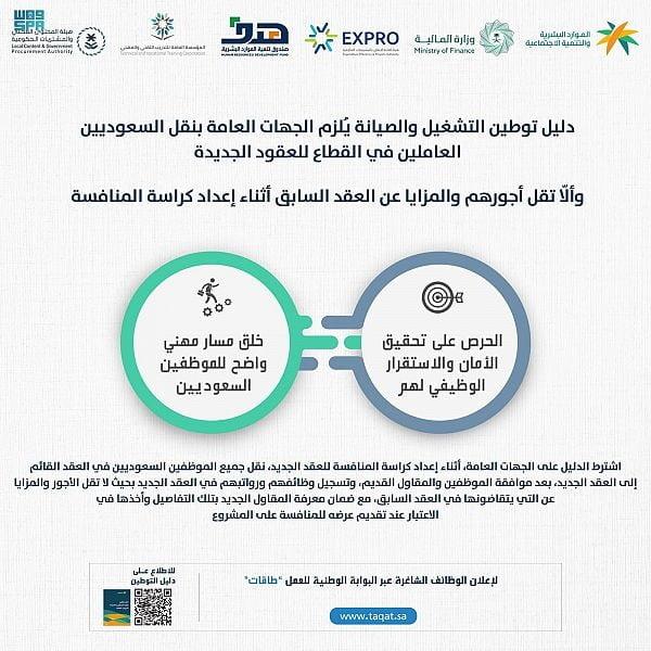 دليل توطين التشغيل والصيانة يُلزم الجهات العامة بنقل السعوديين في القطاع للعقود 3