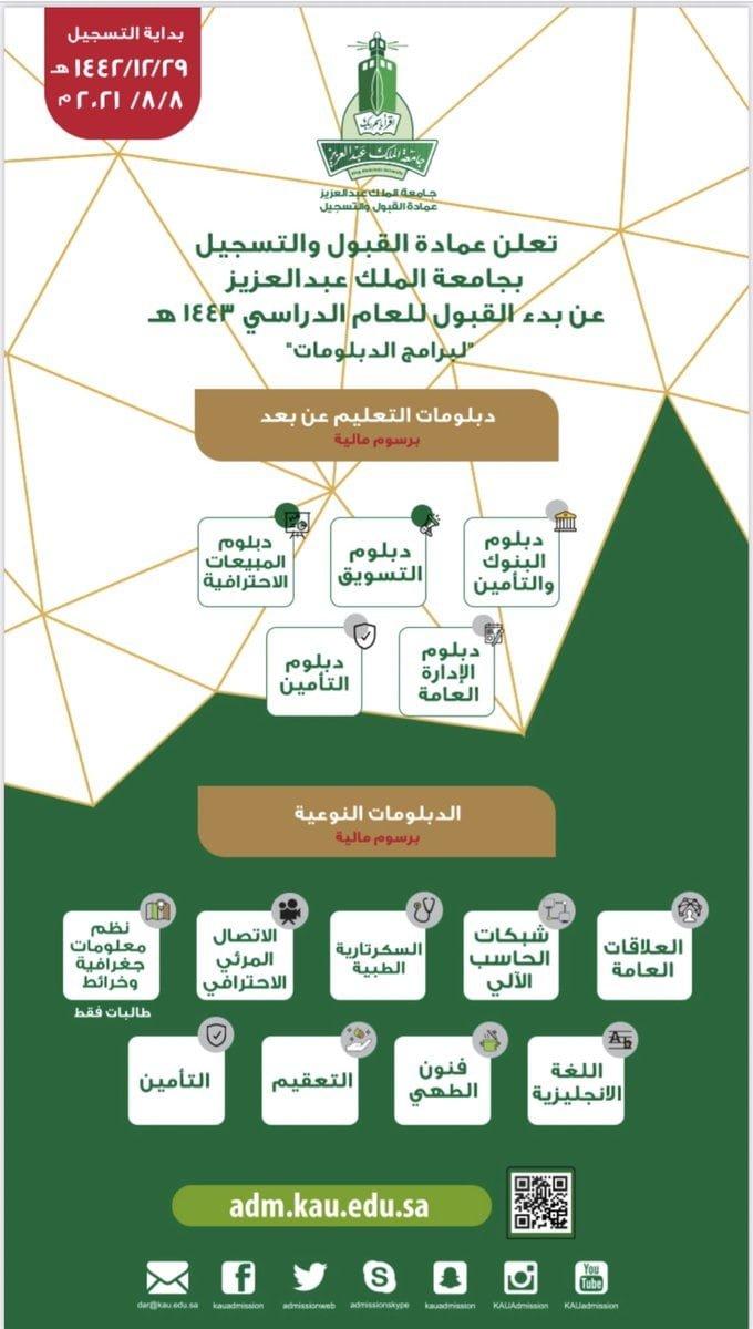 فتح باب القبول في برامج الدبلوم عن بُعد والنوعية لدى جامعة الملك عبدالعزيز 3