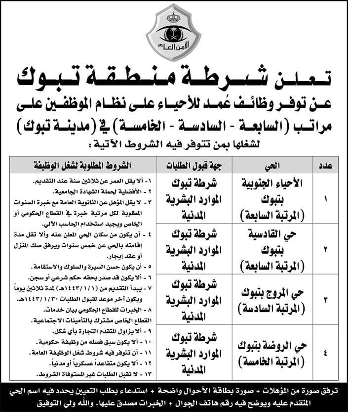 وظائف عُمد للأحياء على نظام المراتب والمستخدمين لدى شرطة منطقتي الرياض وتبوك 5
