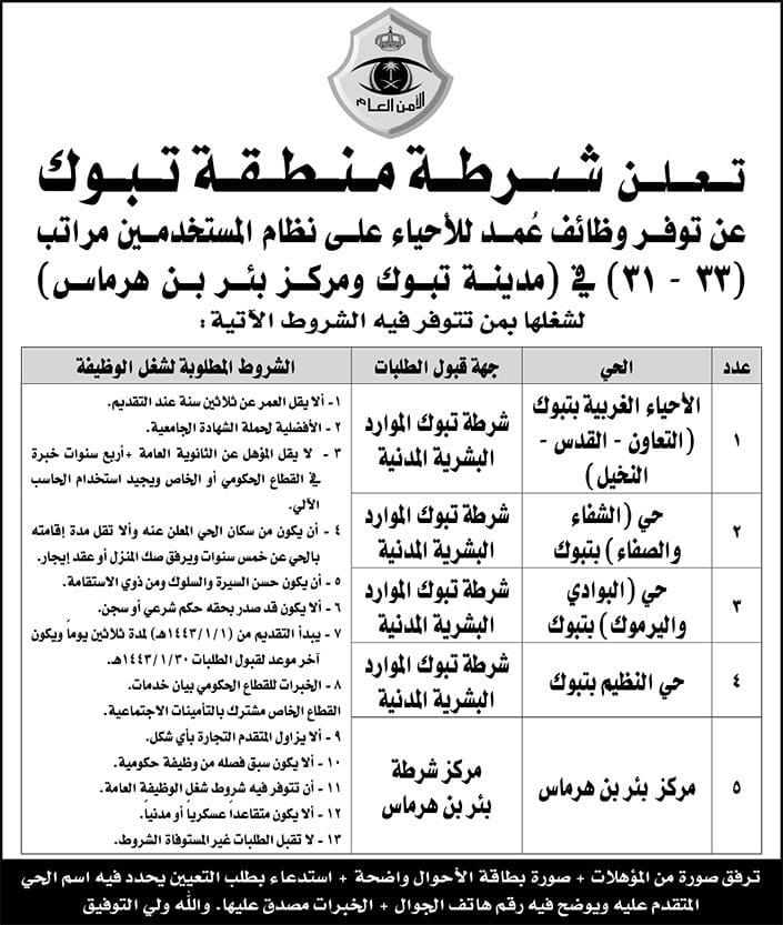 وظائف عُمد للأحياء على نظام المراتب والمستخدمين لدى شرطة منطقتي الرياض وتبوك 7