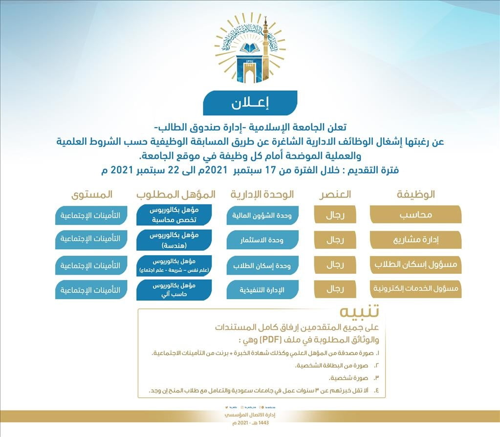 وظائف شاغرة عن طريق المسابقة الوظيفية لدى الجامعة الإسلامية 3