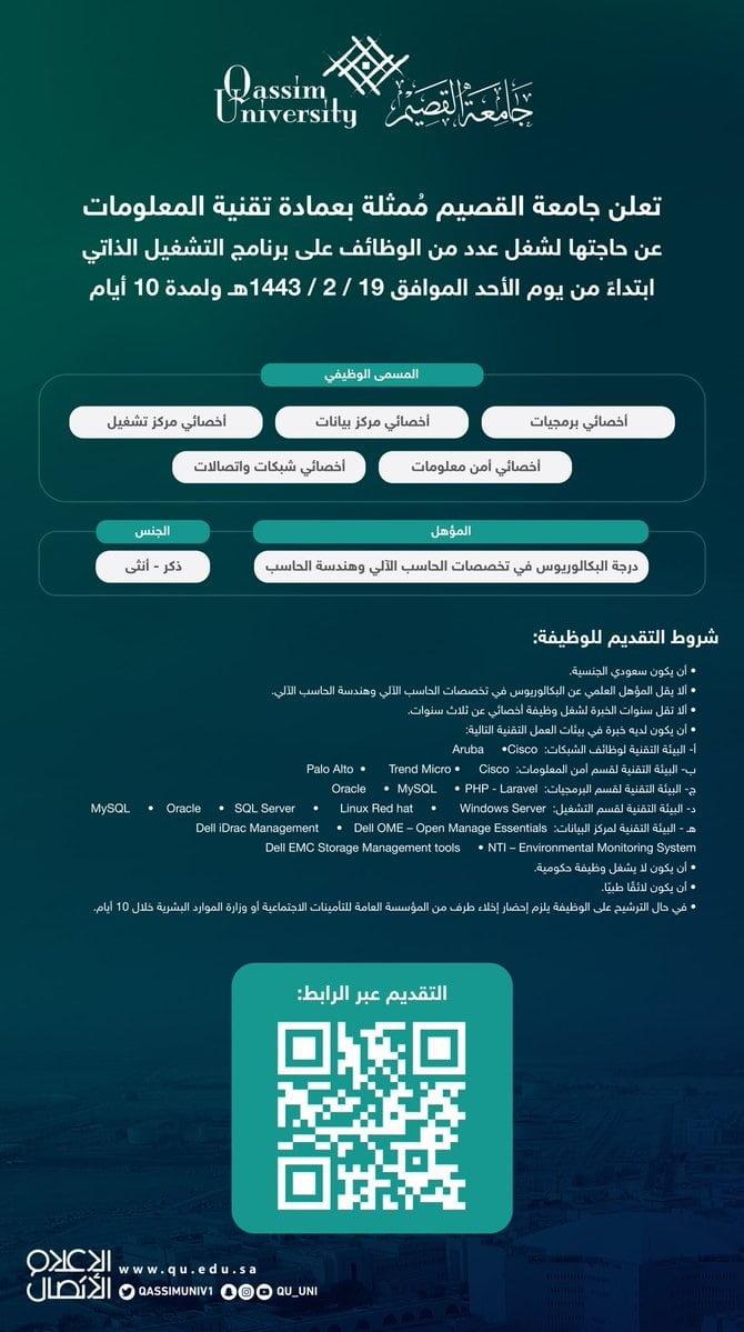 وظائف شاغرة رجال / نساء في عمادة تقنية المعلومات لدى جامعة القصيم 3