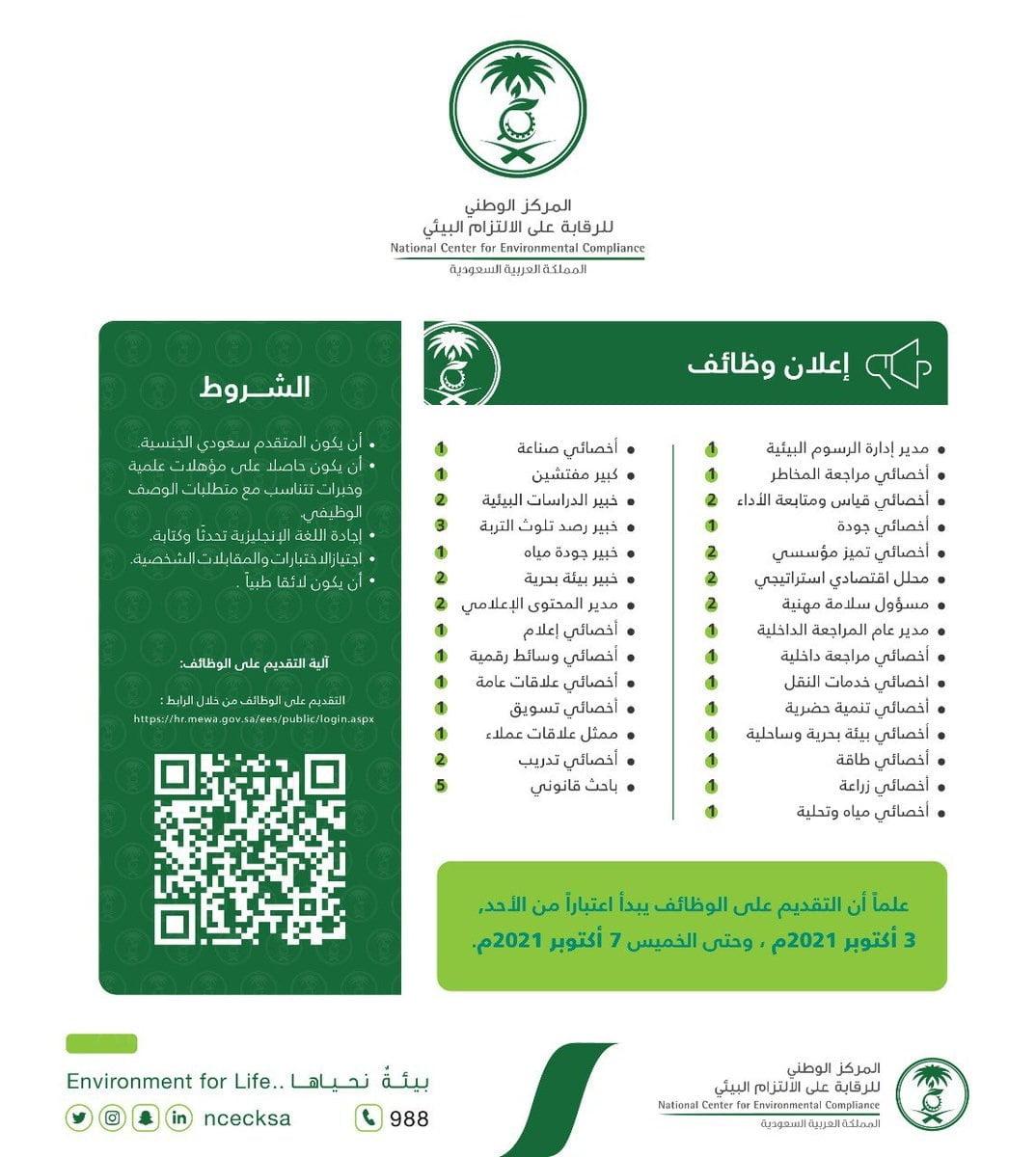 29 وظيفة شاغرة بمختلف المؤهلات والتخصصات لدى المركز الوطني للرقابة على الالتزام البيئي 3