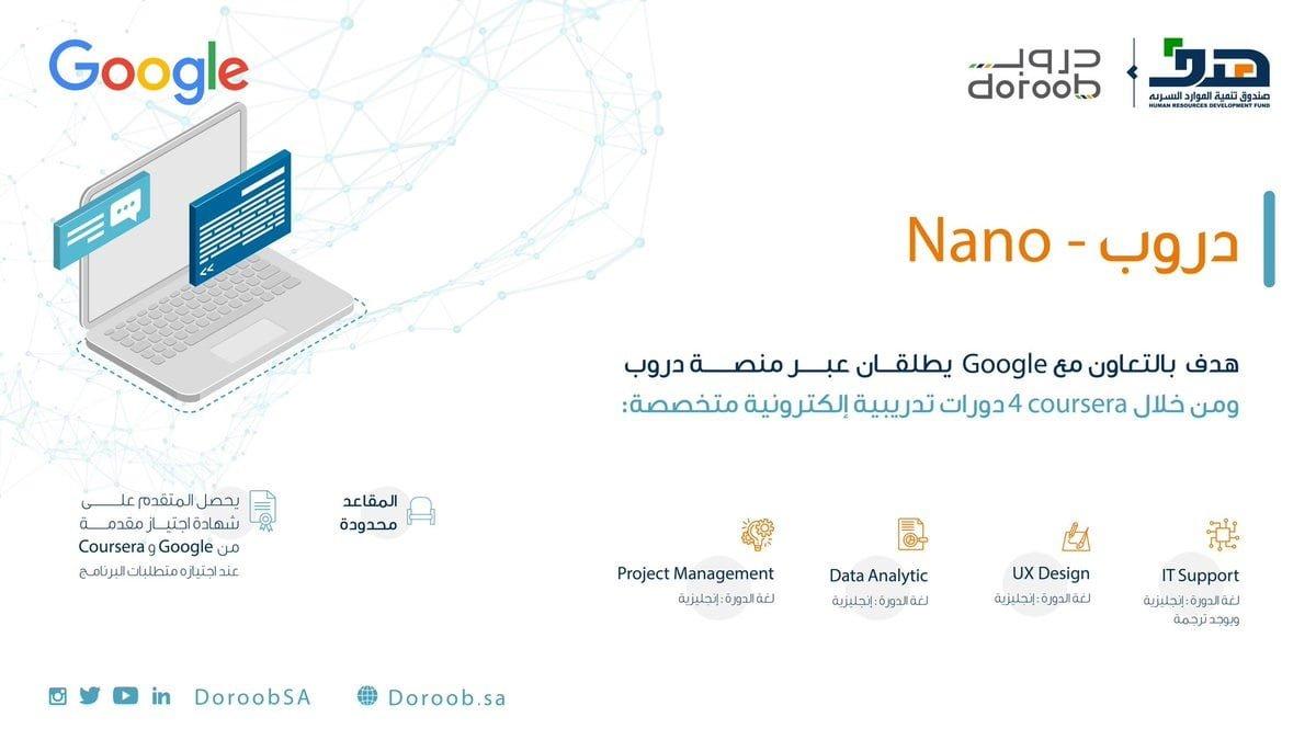 إعلان عن موعد التقديم في برنامج لدى صندوق هدف دروب Nano بالتعاون مع Google 3