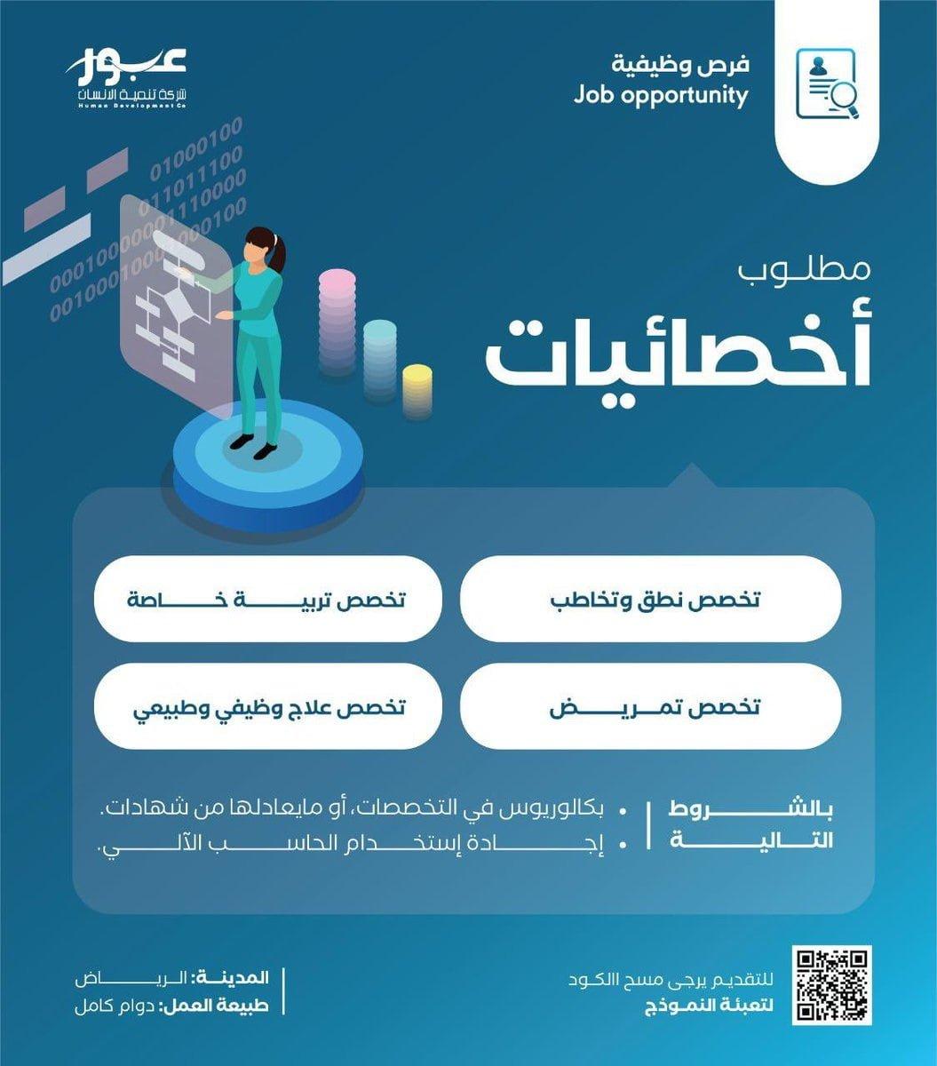 وظائف شاغرة بعدة مجالات في الرياض وجازان لدى شركة تنمية الإنسان عبور 3