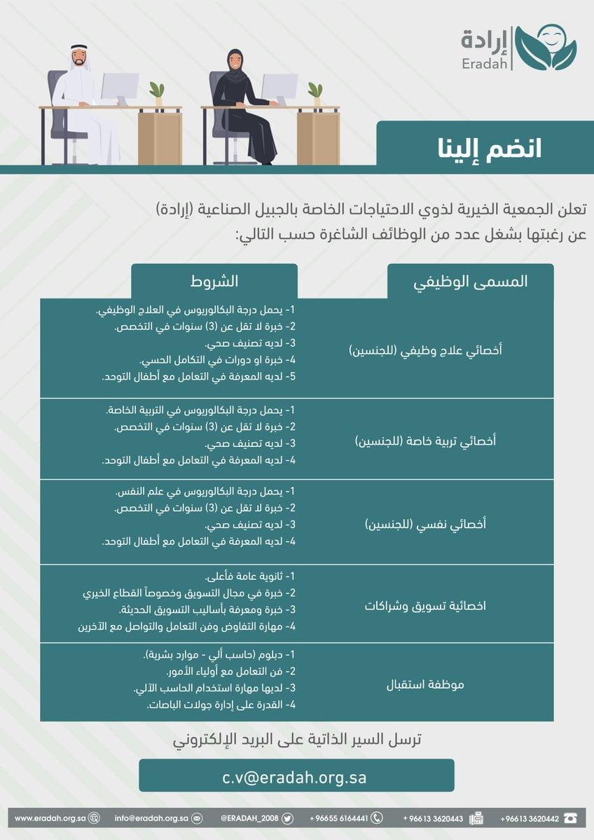 5 وظائف شاغرة رجال / نساء لحملة الثانوية فأعلى لدى جمعية إرادة بالجبيل 3